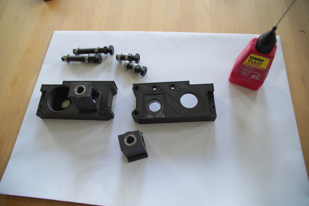 step 2, glue suspensions to gearbox halves