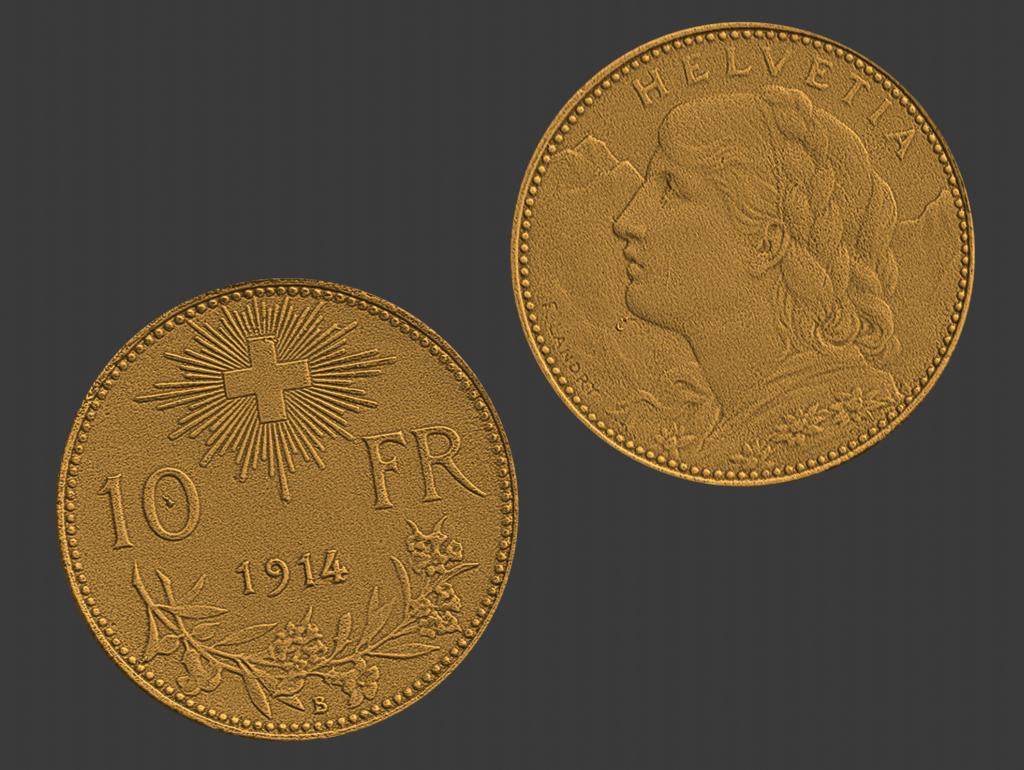 10 swiss francs, goldvreneli