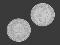 10 swiss cents, 3d scanned