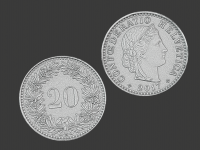 20 swiss cents, 3d scanned