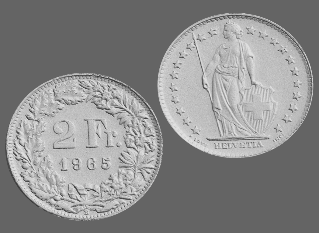 2 swiss francs, 3d scanned
