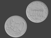 fake 50 euro cent germany, 3d scanned