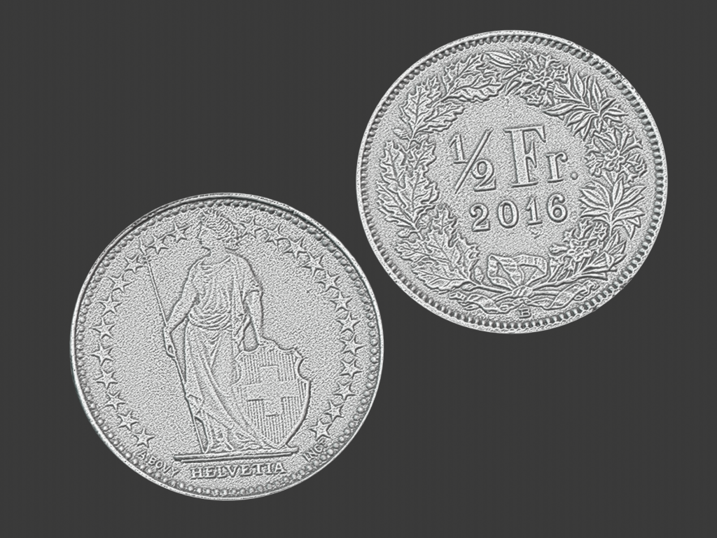 50 swiss cents, 3d scanned