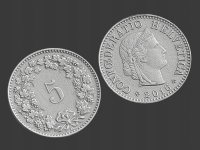 5 swiss cents, 3d scanned