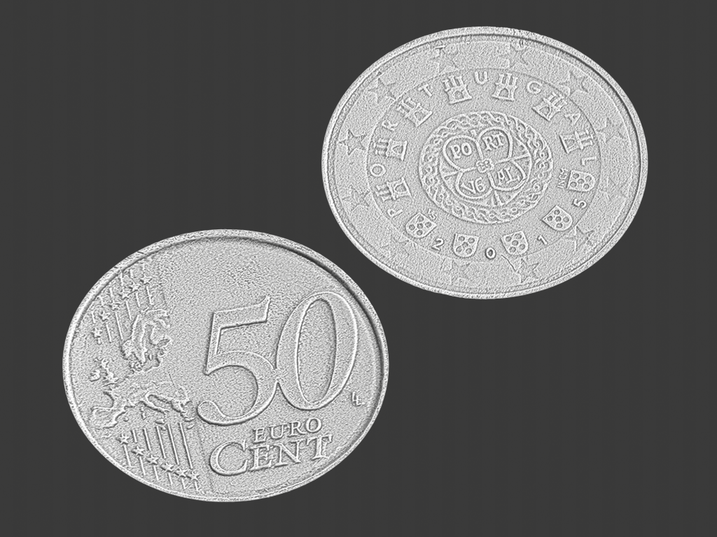 50 euro cent portugal, 3d scanned