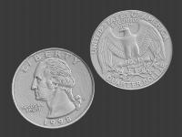 us quarter, 3d scanned