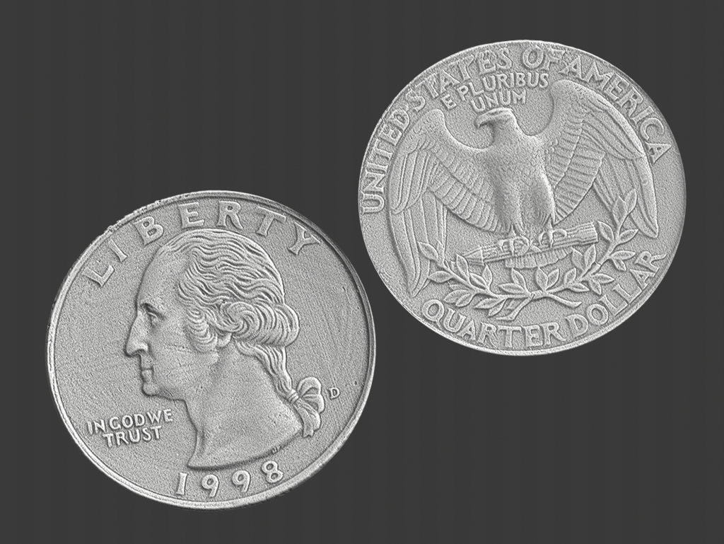 us quarter, 3d scanned